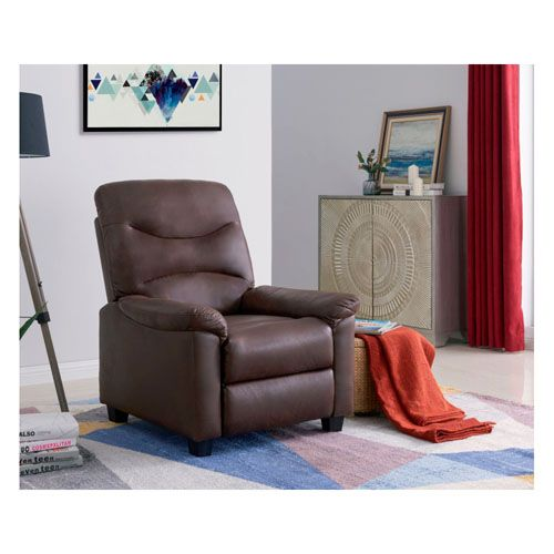 Venice Faux Suede Recliner Chair In Brown Colour